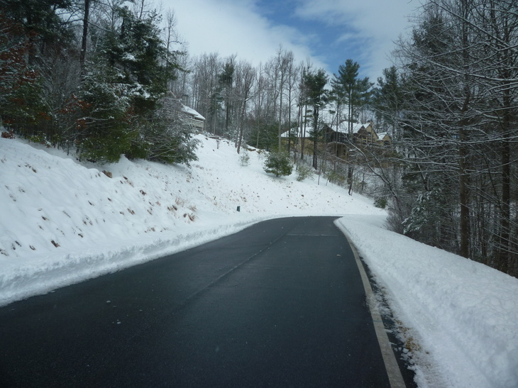 The road is bare;  it's melting fast